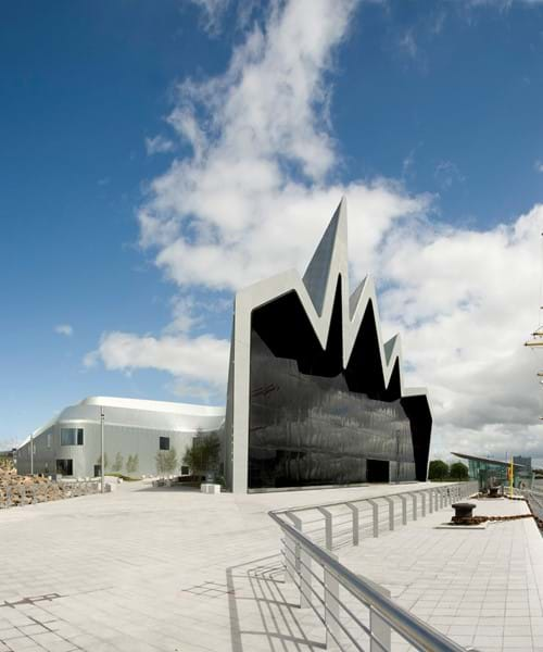 Riverside Museum exterior with Tall Ship Glenlee